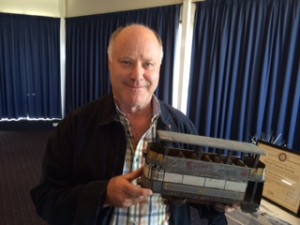 Tony Coleman with a model tram